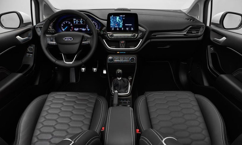 The inside of a brand new Ford Fiesta
